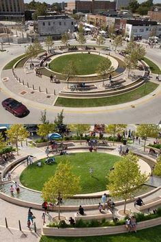 Awesome traffic circle (for people!) in Normal, Illinois.: Awesome traffic circle (for people!) in Normal, Illinois. Park Landscape, Urban Landscape, Contemporary Landscape, Landscape Architecture Design, Landscape Architects, Architecture Diagrams, Architecture Portfolio, Japanese Architecture, Classical Architecture
