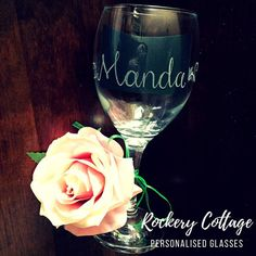 It's a bit early for wine but how lovely is this custom glass! Personalised Glasses, Personalized Wedding Gifts, Glass Engraving, Hand Engraving, Romantic Ways To Propose, Wine Glass, Glass Art, Dog Grooming Scissors, Custom Glass