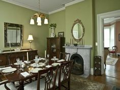 The George Lord Little House, Kennebunk, Maine - celery green dining room