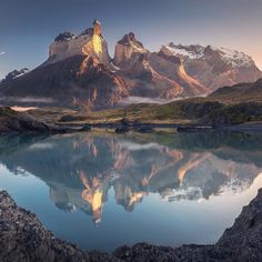 First light of the day  Torres del Paine Chile. Photo by...