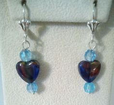 Glass Heart With Blue Swarovski Crystal Heart by PersnicketyPatty