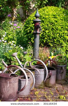 old pump and zinc watering cans