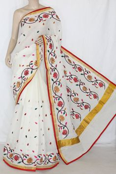 Off-White Red/Mustared Embroidered Kerala Cotton Handloom Saree (With Blouse) 13778 Embroidery Works, Embroidery Saree, Hand Embroidery Designs, Embroidery Stitches, Kasavu Saree, Jamdani Saree, Silk Sarees, T Shirt Painting, Fabric Painting