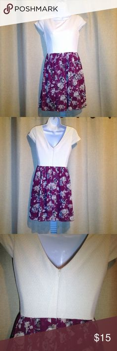 Speechless Dress size 5 Speechless cream/burgundy rose print pouf dress size 5 zippered back Speechless Dresses Mini
