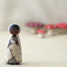 Tiny Muse Fairy white Wooden Peg People Doll Green Eyes white witch African American by mytinystudio on Etsy https://www.etsy.com/listing/95754804/tiny-muse-fairy-white-wooden-peg-people
