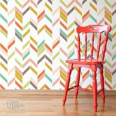 Modern Herringbone Shuffle Wall stencil by Bonnie Christine for Royal Design Studio - for laundry or mud room?