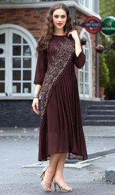Coffee Color Shaded Embroidered Georgette Tunic #indiantunicsformen#indiantunicplussize Dazzle your onlookers at a glance dressed up in this coffee color shaded embroidered georgette tunic. This charming attire is displaying some wonderful embroidery done with lace and resham work. USD$ 61(Around £ 42 & Euro 46)