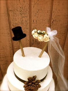 Ok, so this may not be so very Austen, but... Rustic wedding cake topper country fall weddings
