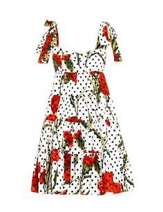Dolce & Gabbana Carnation and polka-dot print dress Dolce And Gabbana Kids, White Polka Dot Dress, Matches Fashion, Luxury Dress, Polka Dot Print, Cool Outfits, Women Wear, Girls Dresses, Carnation