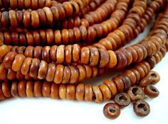 550 Tiny African Brown Seed Beads, 5mm, Kekeore Seeds, Natural African Seeds, Brown Spacer Beads, Rustic Brown Flat Rondelle P11