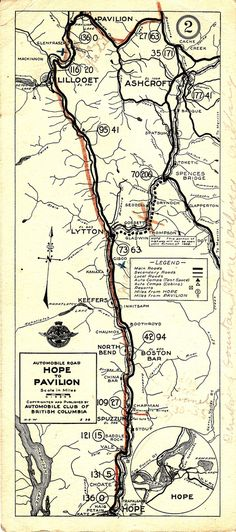 Driving Card: Hope to Pavilion, 1928 Fraser Canyon, British Columbia, Pavilion, Vancouver, Vintage World Maps, Automobile, Bridge, Canada, Note
