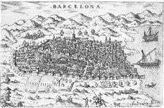 Vista de la ciudad de Barcelona desde Montjuïc en que se distinguen claramente las murallas medievales, en un dibujo de Francesco Valesio del 1579.