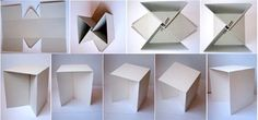 We were researching the idea of making cardboard prototypes of ideas we have for furniture when we stumbled upon a series of designs, with pictures of fold