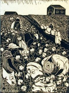 """Picking Cotton (from the series """"This our Land"""") - linocut 1948 - Anna Heyward Taylor, 1879-1956 U.S.A"""