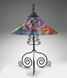 Ulla Darni table lamp with reverse painted shade.  Stunning!