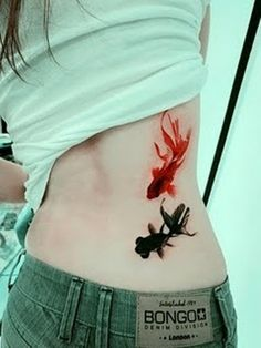 Black and Red Gold Fish Tattoo tattoo