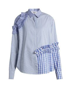 Msgm Ruffled-trim Contrast-panelled Shirt In Mid-blue And White Deconstruction Fashion, White Shirts, Striped Shirts, Shirt Dress, Blouse, Ruffle Shirt, Refashion, Cool Shirts, African Fashion