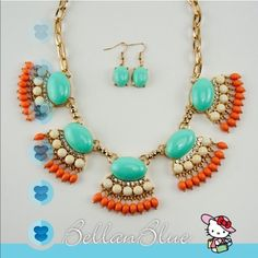 🎉HPx2🎉 - The SAMANTHA necklace set OK I just fell head over heels in love with this beautiful color combo. Good tone necklace & earring set! Get dolled for to the paint the town red in these Super fun colors. ‼️NO TRADE‼️ Jewelry Necklaces