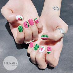 Pink watermelon 💓💗💓 #ttlnails ----------------------------- Dịch vụ làm móng Fb: facebook.com/ttlnails 🏠Tầng 3, khối VP, 130 Nguyễn Đức Cảnh, HN ⏰ 9:00-18:00 ☎️ 01678777489 - (vui lòng không liên hệ sau 23h) ➡Liên hệ qua sđt để book lịch trước nhé ạ! ‼️Để tránh nhầm lẫn, khách yêu lưu ý là TTL chỉ nhận lịch book qua hotline 01678777489 (sms/imess), KHÔNG nhận lịch qua cmt, direct, inbox. Xin cảm ơn❤️❤️❤️ . . . #gelnails #nailart #naildesign #nails #nailstagram #cutenails #nailswag… Summery Nails, Food Nail Art, Basic Nails, Japanese Nails, Pastel Nails, Get Nails, Nail Arts, Swag Nails, Nails Inspiration