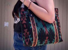 Seriously Southwestern Native American Tote Bag, Navajo Inspired Marsala and Coral Handbag, Boho Wov Sewing Men, Navajo Style, Fabric Purses, How To Make Handbags, Black Canvas, Trendy Fashion, Marsala, Coral, Tote Bag
