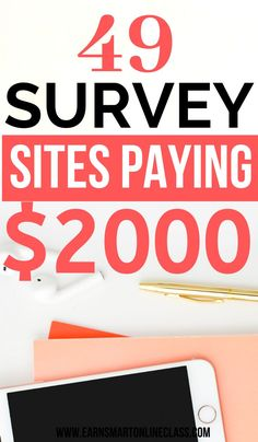 Want to make extra money by taking paid online surveys? Here's a list of 50 online surveys paying well. It's possible to earn money from home by taking surveys in your spare time! Online Surveys For Money, Paid Surveys, Earn Money Online, Make Money Now, Earn More Money, Make Money From Home, Easy Online Jobs, Online Jobs From Home, Get Paid Online