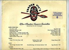 Trader Vic's After Theatre Supper Menu The Plaza Hotel New York City 1970s TIKI