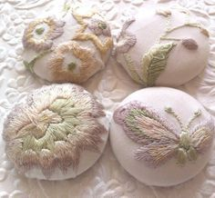 ... 4 fabric covered buttons ivory embroidered by EmbellishedLife2, ...