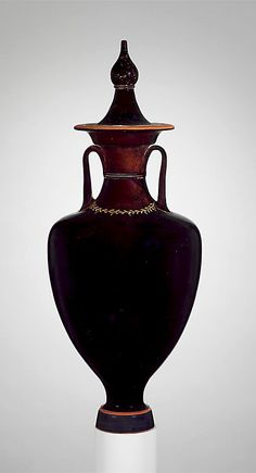 Terracotta amphora with lid (jar) 4th century B.C. - Culture : Greek, Attic - In the Museum, Greek and Roman Art  http://www.metmuseum.org/Collections/search-the-collections/130009539