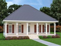 021H-0284: Southern House Plan with Covered Front Porch Cottage Style House Plans, Duplex House Plans, Southern House Plans, Family House Plans, Cottage House Plans, Best House Plans, Cottage Homes, Cottage Design, House Design