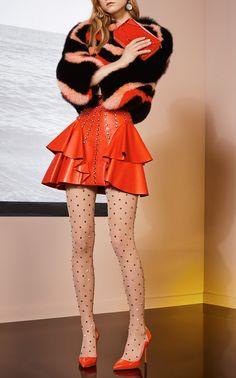 Leather Ruffle Mini Skirt by Elie Saab