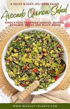 Avocado Quinoa Salad - A quick Quinoa Recipes Easy, Salad Recipes For Dinner, Whole Food Recipes, Vegetarian Recipes, Healthy Recipes, Easy Plant Based Recipes, Avocado Quinoa, Quinoa Salad, Easy Recipes For Beginners