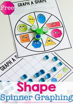 Fidget spinner 2D shape graph. Great way to learn about 2D shapes and graphing. Fun math center for kindergarten or end of preschool.