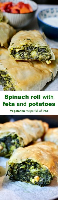 These rolls are healthy because the main ingredient is spinach, which is a good source of iron with loads of benefits for blood, positive mood, immune system. Greek Recipes, Veggie Recipes, Appetizer Recipes, Whole Food Recipes, Vegetarian Recipes, Veggie Meals, Appetizers, Spinach Rolls, Spinach And Feta
