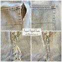 Don't throw out your money or your favorite jeans any more! Fix your jeans! Diy Ripped Jeans, Torn Jeans, Shoes With Jeans, Sewing Jeans, Sewing Clothes, Reuse Clothes, Sewing Hacks, Sewing Projects, Sewing Tips