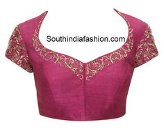 22 Graceful Pics of simple thread work blouse & Saree designs Saree Blouse Neck Designs, Saree Blouse Patterns, Fancy Blouse Designs, Designer Blouse Patterns, Lehenga Blouse, Work Blouse, Blouse Outfit, Saree Models, Blouse Models