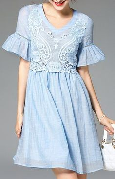 Embroidered Circular-Flounce-Sleeve Dress- Blue or White