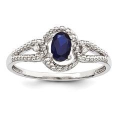 Sterling Silver Created Sapphire & Diamond Ring SKU: QGQBR16SEP-10 $49.99