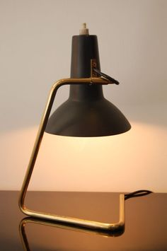 Vittoriano Vigano; Tubular Brass and Enameled Metal Table Lamp for Arteluce, c1950.