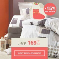 Lenjerie de pat din bumbac Valentini Bianco VKR10 Shiste (-15%)