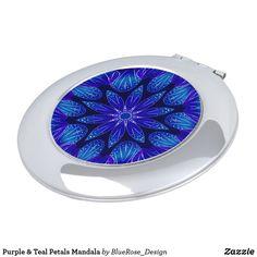 Purple & Teal Petals Mandala Compact Mirror Purple Teal, Compact Mirror, Christmas Card Holders, Heart Shapes, Keep It Cleaner, Mirrors, Vibrant Colors, Mandala, Luxury