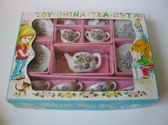 This was the exact set I had as a child...I remember the box. Would love to have it again! Vintage early 1970s Toy China Tea Set made in by ChoiceClassics