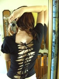 Restyle and fit a tee shirt! Ooh cool and for those who need a back a simple piece of black lace behind these straps would  be gorgeous