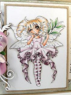 | Page 67 ~Copics:  Skin: E11-21-00-000-R11 Hair: E55-53-50 Dress: V95-V91-RV000 Wings: W1-E42-W0 Shadow: W3-1-0.