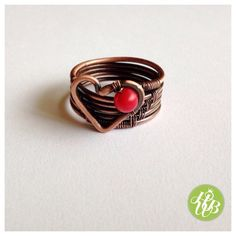 Red coral wire wrapped ring with heart/heart by FromRONIKwithLove #copperwirerings