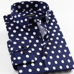 2017 Spring New Men Polka Dot Printing Long Sleeve Shirt Fashion Male Dress Shirts Casual Formal Cotton Shirt Casual Shirts For Men, Casual Button Down Shirts, Men's Fashion, Fashion Socks, Modern Fashion, Fashion Rings, Polka Dot Shirt, Polka Dots, Plus Size Shirts