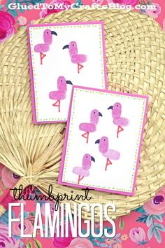 Thumbprint Flamingo Cards - Whether for kids or adults, this Bright and Colorful Summer craft idea is a MUST-DO this time of year! Food Art For Kids, Fun Crafts For Kids, Craft Activities For Kids, Summer Crafts, Craft Stick Crafts, Preschool Crafts, Paper Crafts, Classroom Crafts, Craft Ideas