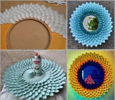 Kunstige Spiegel: Gemaakt met plastic lepels en wat verf, leuk idee.