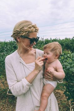 Barefoot Blonde Amber and Atticus picking Berries in Hunter Boots