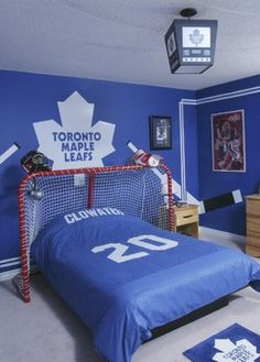 Hockey Theme Bedrooms Design, Pictures, Remodel, Decor and Ideas---minus the ugly Leafs logo.