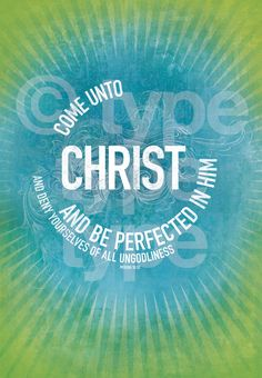 Come Unto Christ 2014 Mutual Theme blue/lime 4x6 by typetypetype, $2.49